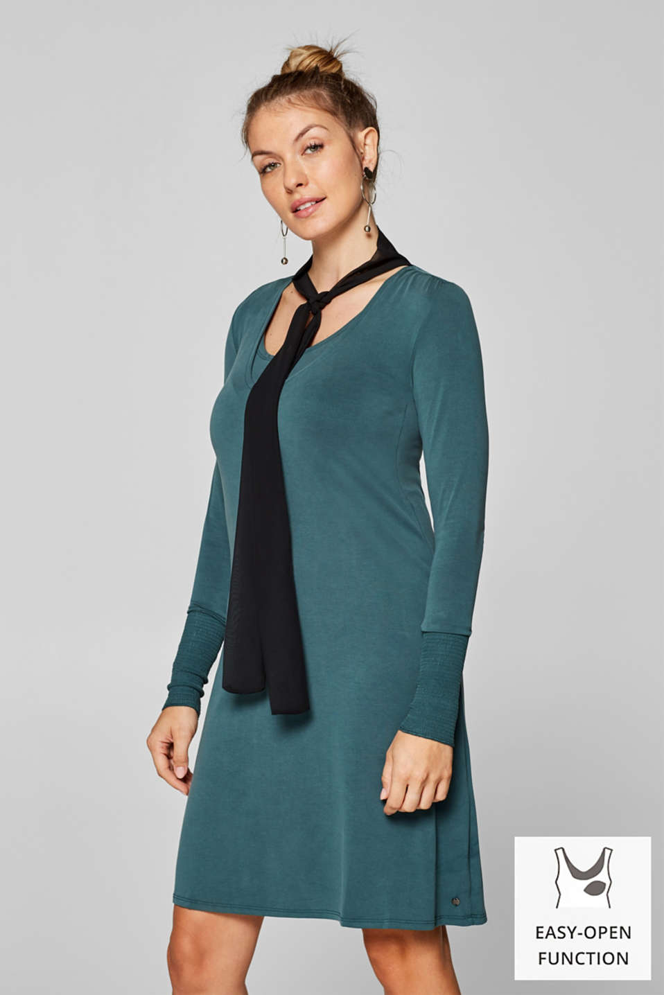 Nursing dress in stretch jersey with a chiffon scarf, LCDARK TEAL GREE, detail image number 0