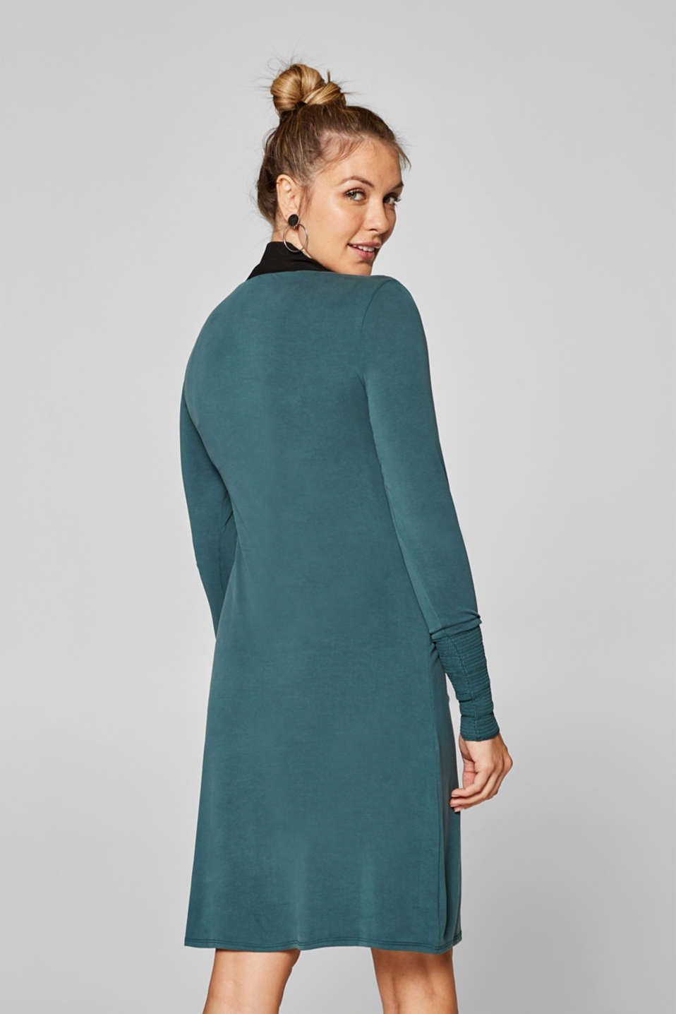 Nursing dress in stretch jersey with a chiffon scarf, LCDARK TEAL GREE, detail image number 2
