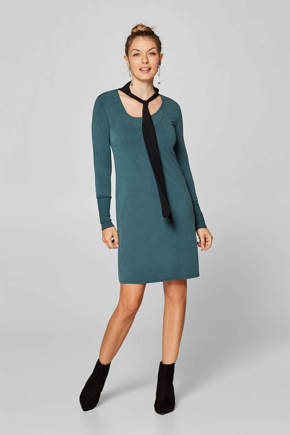 Nursing dress in stretch jersey with a chiffon scarf, LCDARK TEAL GREE, detail image number 1
