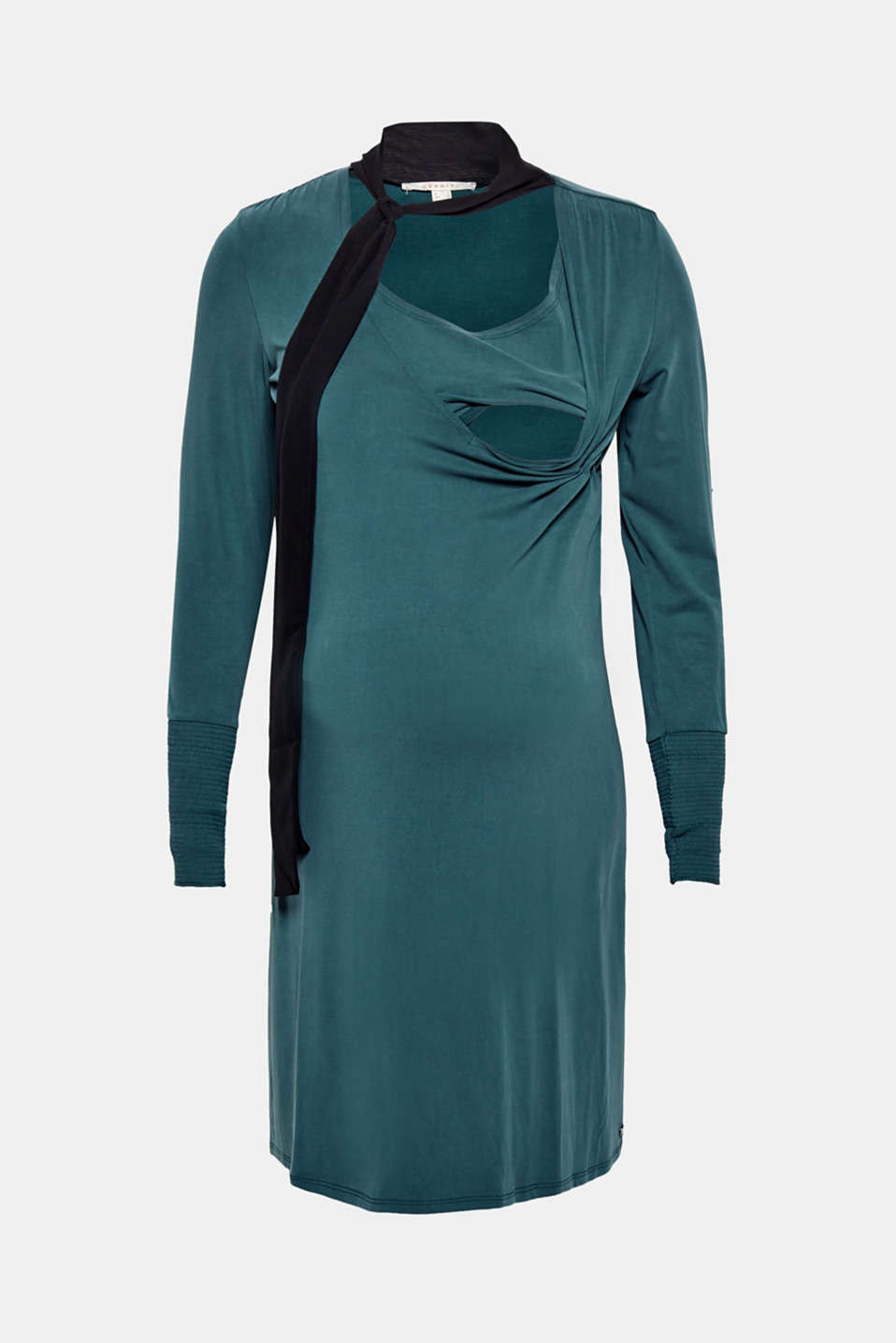 Nursing dress in stretch jersey with a chiffon scarf, LCDARK TEAL GREE, detail image number 5