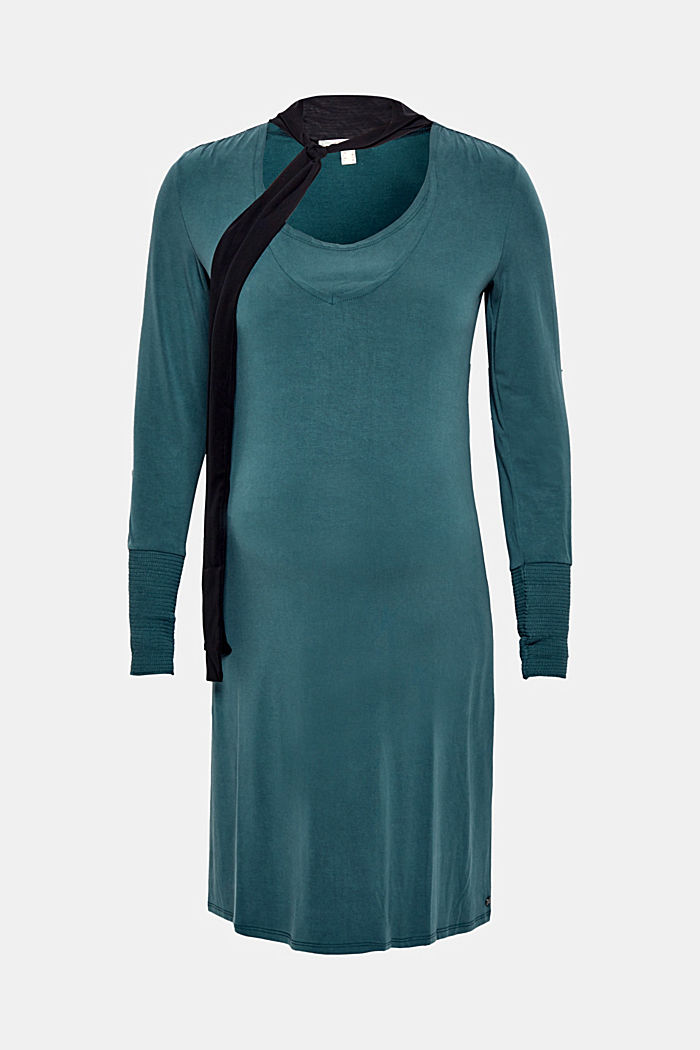 Nursing dress in stretch jersey with a chiffon scarf, DARK TEAL GREEN, detail image number 0