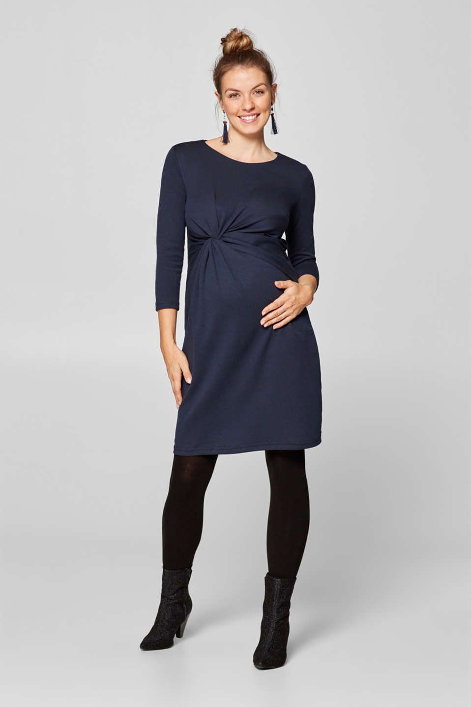 Jersey dress with a draped effect, LCNIGHT BLUE, detail image number 0