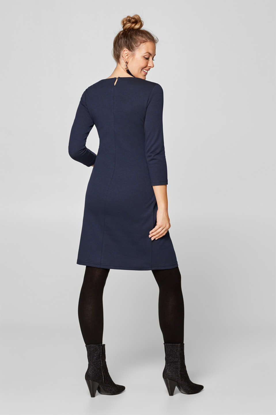 Jersey dress with a draped effect, LCNIGHT BLUE, detail image number 1