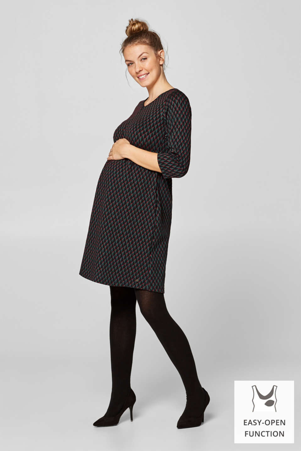 Esprit - Jacquard dress with a nursing function