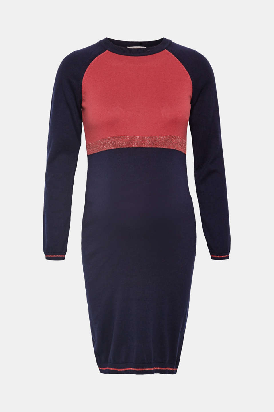 Esprit - Knitted dress with colour blocks and glittering trims