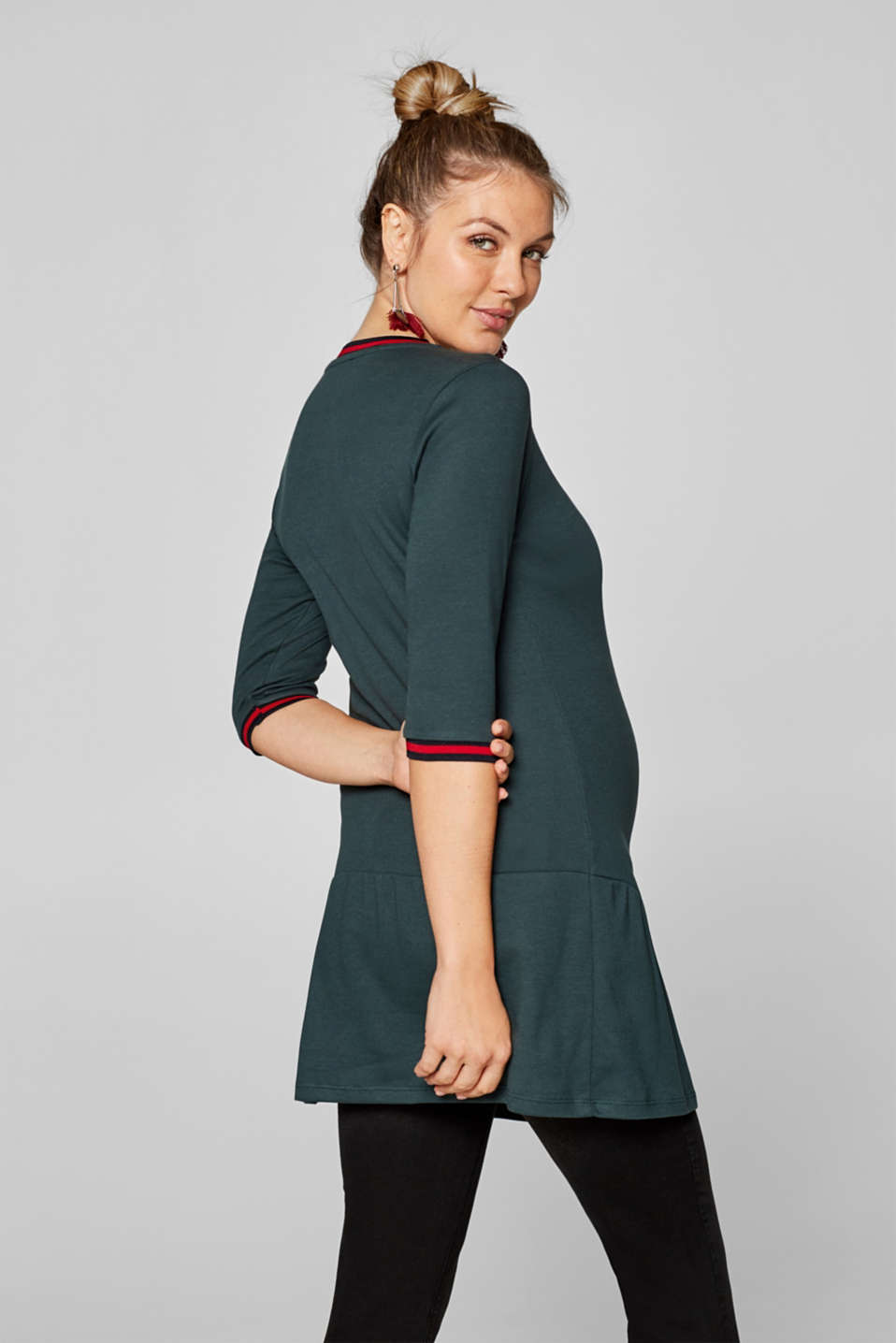 Jersey tunic with striped ribbed trims, LCDARK TEAL GREE, detail image number 2
