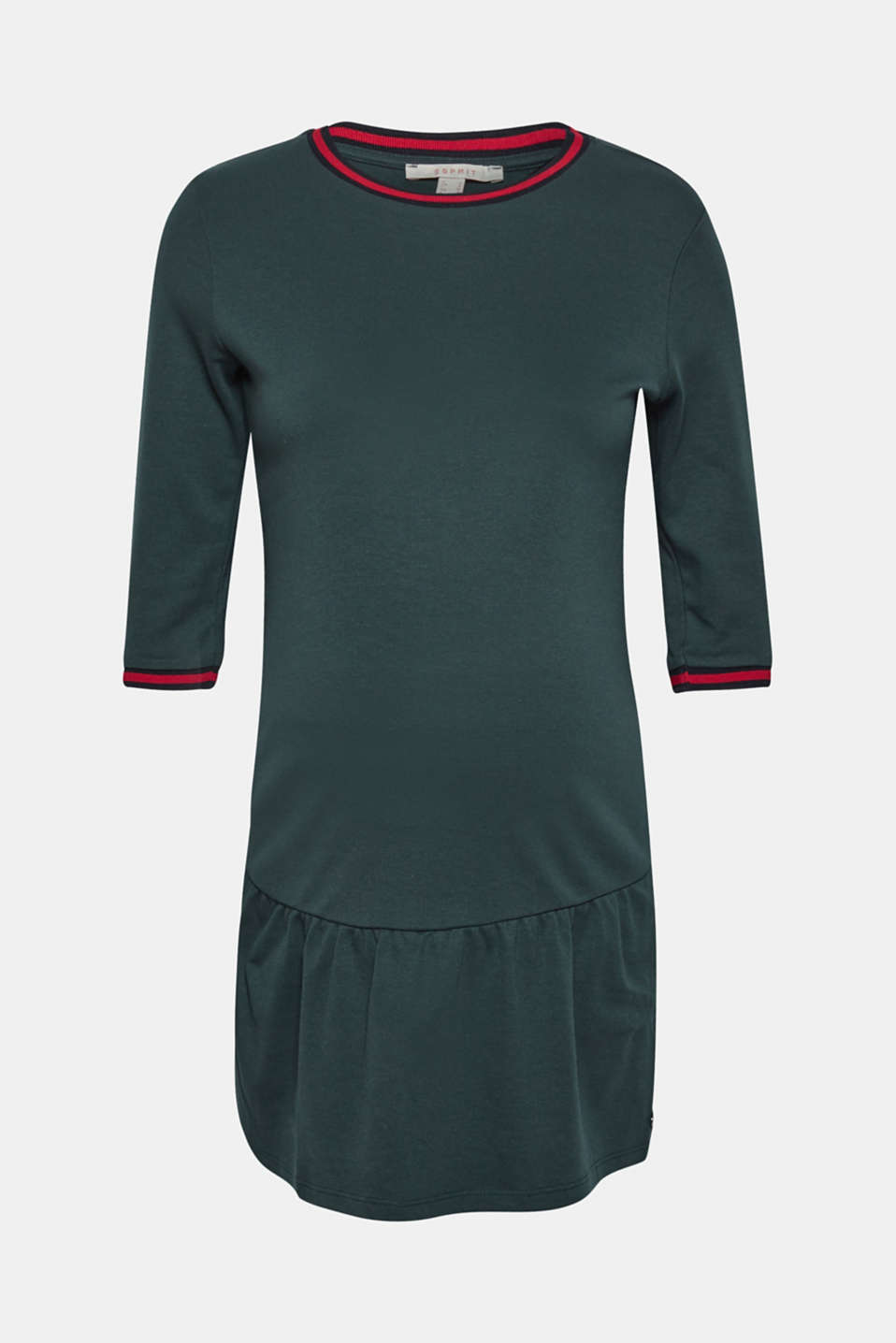 Jersey tunic with striped ribbed trims, LCDARK TEAL GREE, detail image number 0