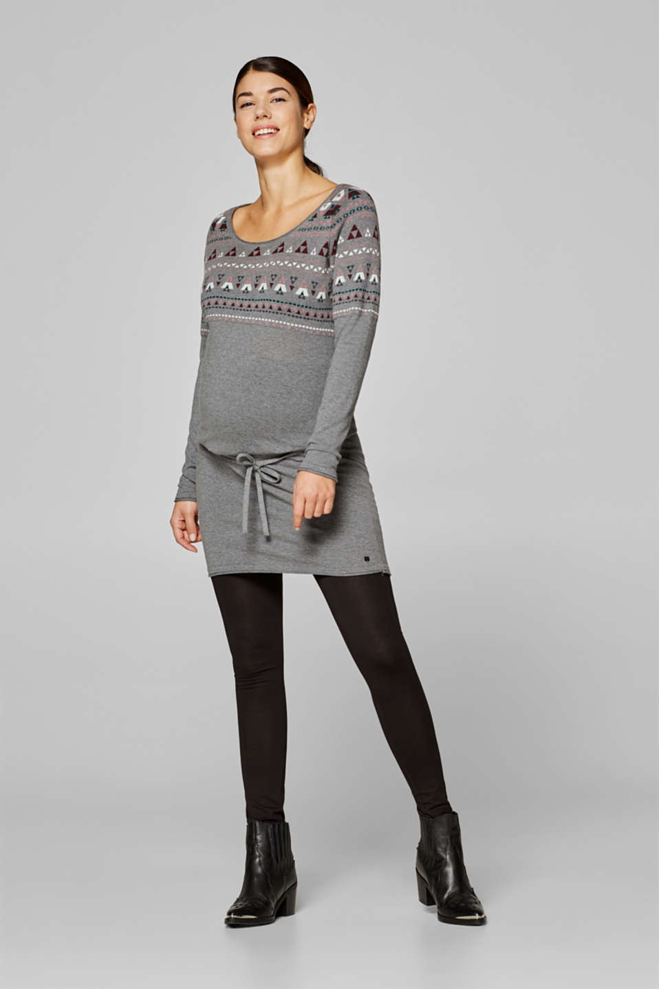 Jacquard tunic in a fine cotton knit, LCMEDIUM GREY, detail image number 0