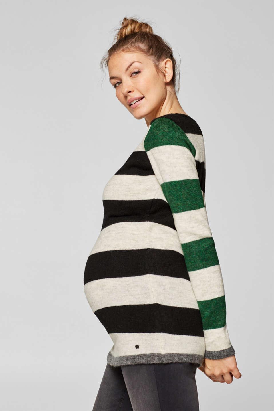Fluffy, stretchy jumper with block stripes, LCBLACK, detail image number 0