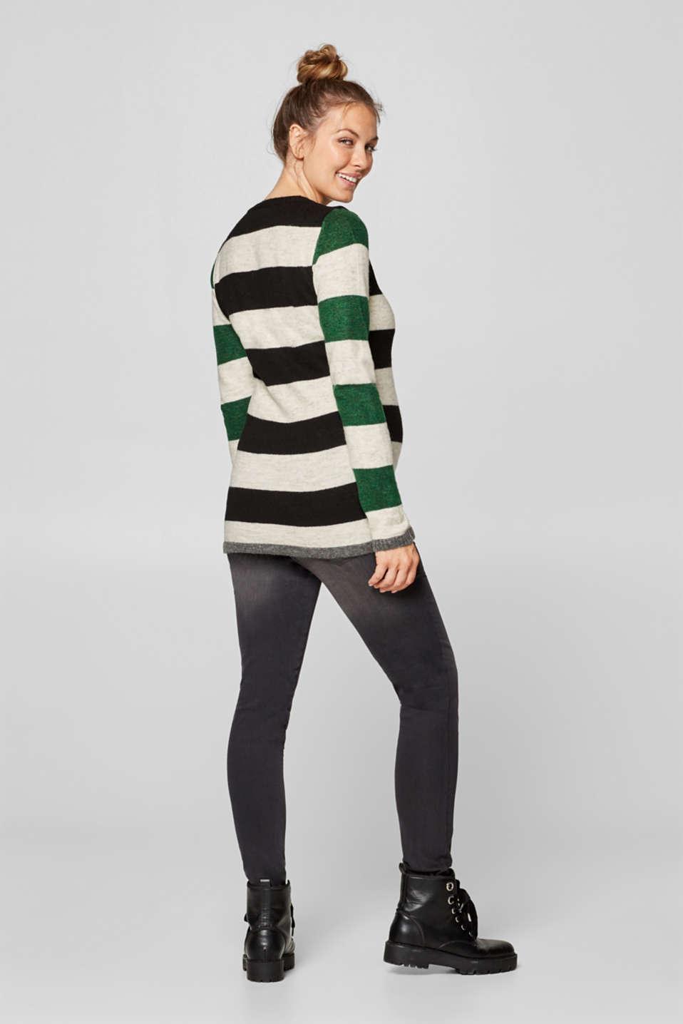 Fluffy, stretchy jumper with block stripes, LCBLACK, detail image number 3