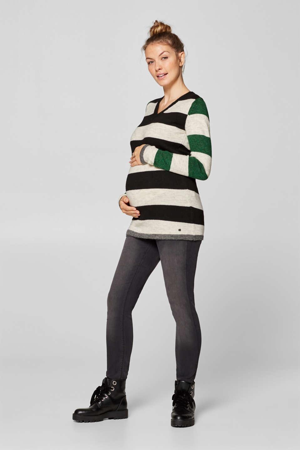 Fluffy, stretchy jumper with block stripes, LCBLACK, detail image number 1