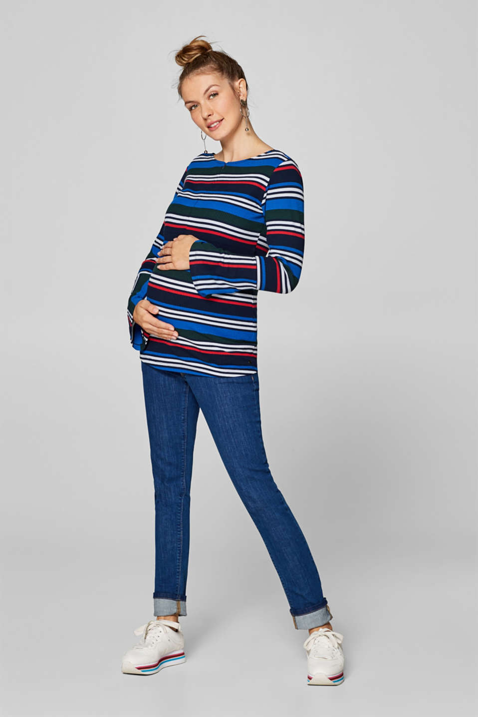 Long sleeve maternity top with trumpet sleeves, LCNIGHT BLUE, detail image number 0