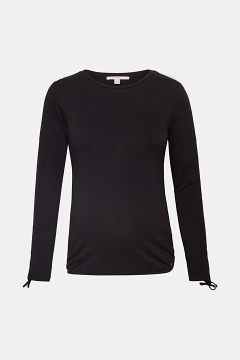 Long sleeve top with gathered sleeves, 100% cotton