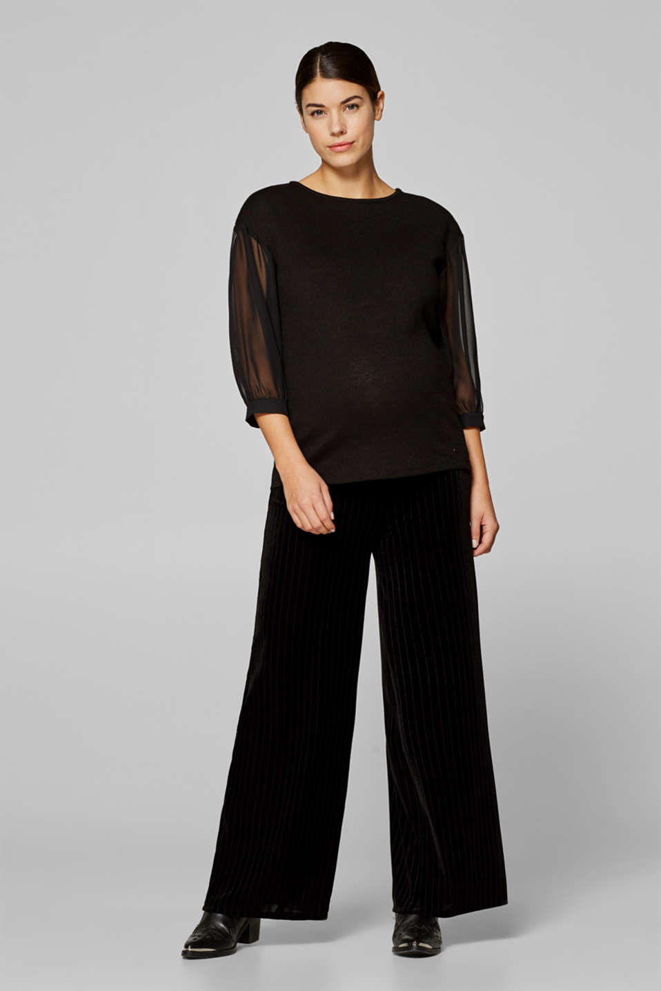 Stretchy, velvet trousers with stripes and an under-bump waistband, LCBLACK, detail image number 0