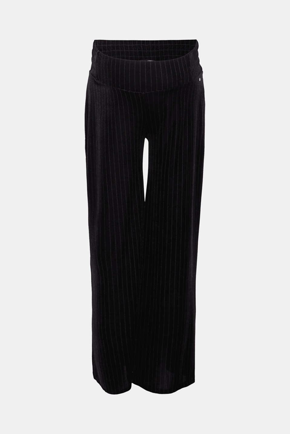 Esprit - Stretchy, velvet trousers with stripes and an under-bump waistband