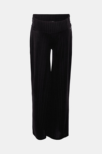 Stretchy, velvet trousers with stripes and an under-bump waistband