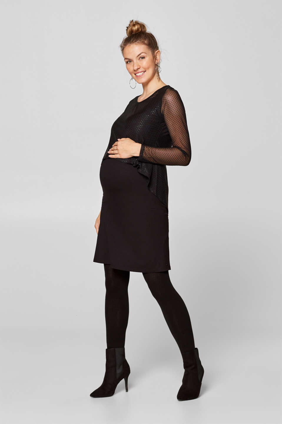 Esprit - Jersey chiffon dress with a nursing function