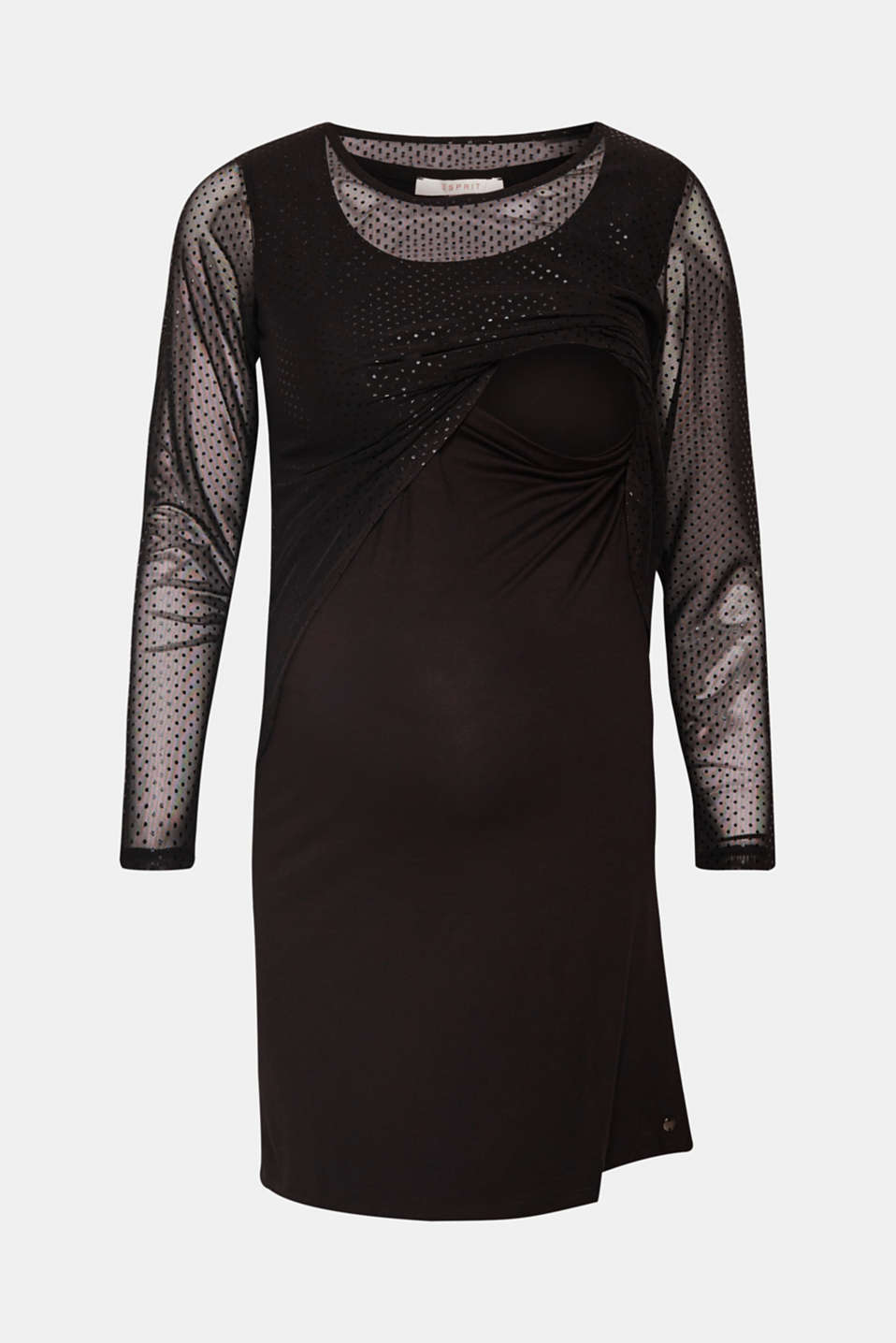 Jersey chiffon dress with a nursing function, LCBLACK, detail image number 5