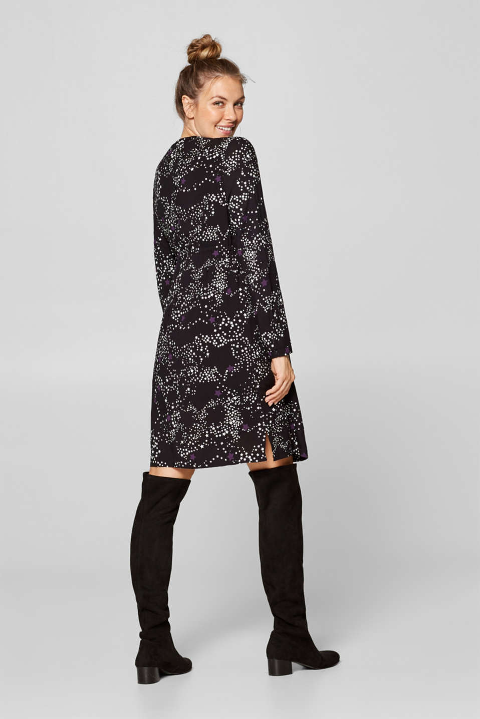 Woven dress with a star print and a nursing function, LCBLACK, detail image number 2