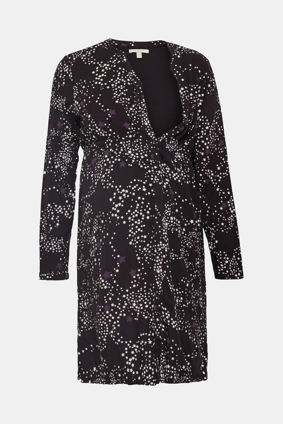 Woven dress with a star print and a nursing function, LCBLACK, detail image number 4