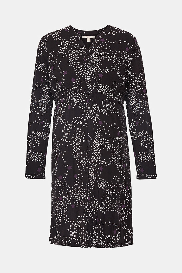 Woven dress with a star print and a nursing function, BLACK, detail image number 0