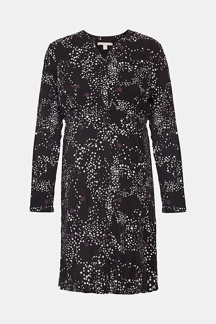Web-Kleid mit Sternchen-Print und Stillfunktion, BLACK, detail image number 0