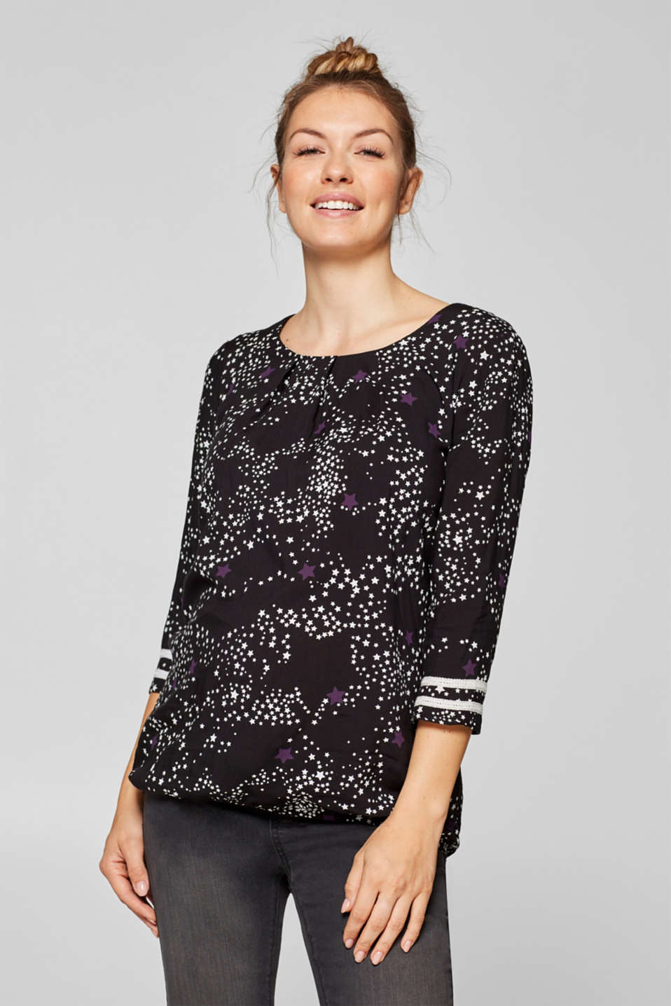 Esprit - Printed blouse with crocheted lace trims
