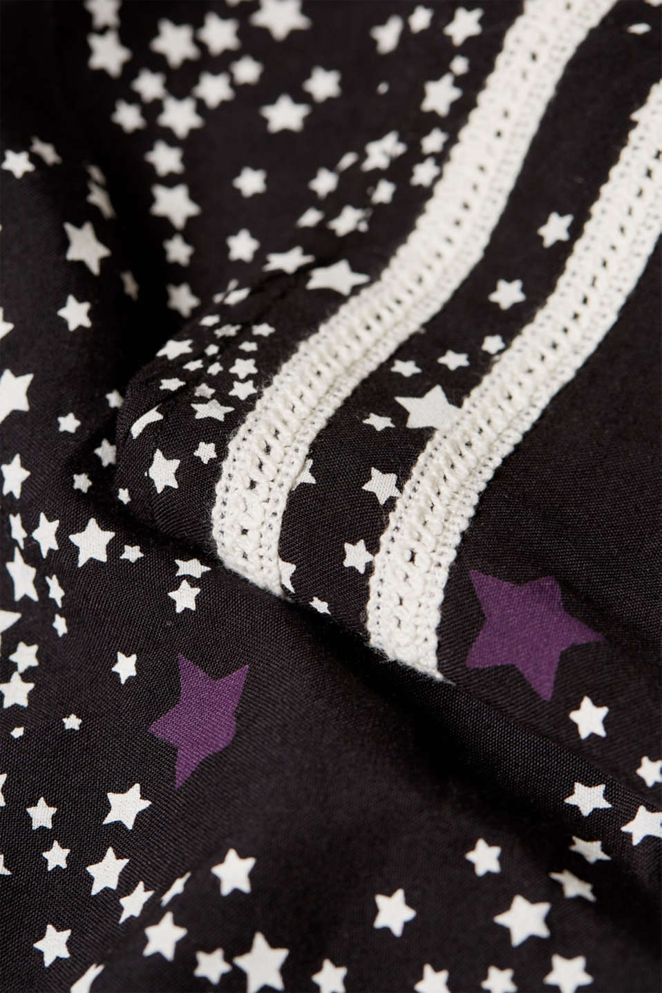 Printed blouse with crocheted lace trims, LCBLACK, detail image number 4