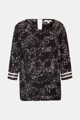 Printed blouse with crocheted lace trims, LCBLACK, detail