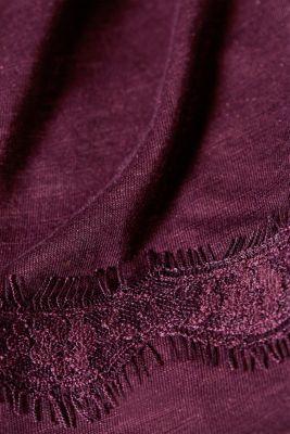 Glittering slub T-shirt with lace sleeves, LCDARK LAVENDER, detail