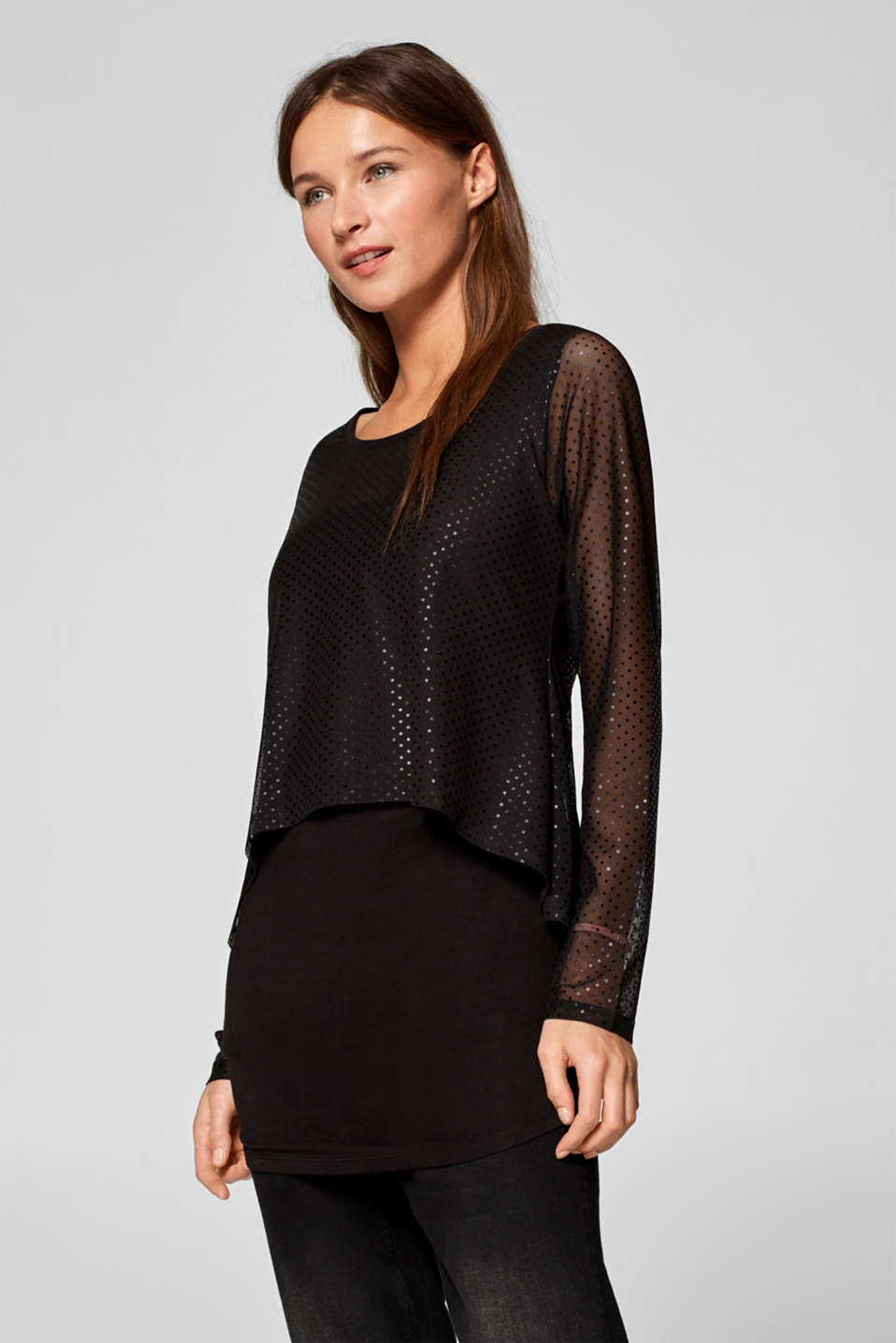 Esprit - Layered T-shirt with a polka dot mesh and nursing function