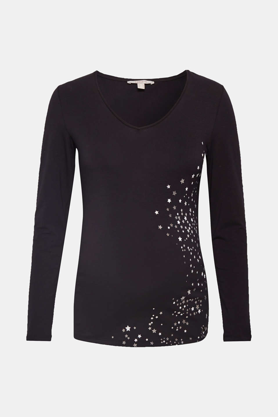 Esprit - Stretch long sleeve top with a shiny print