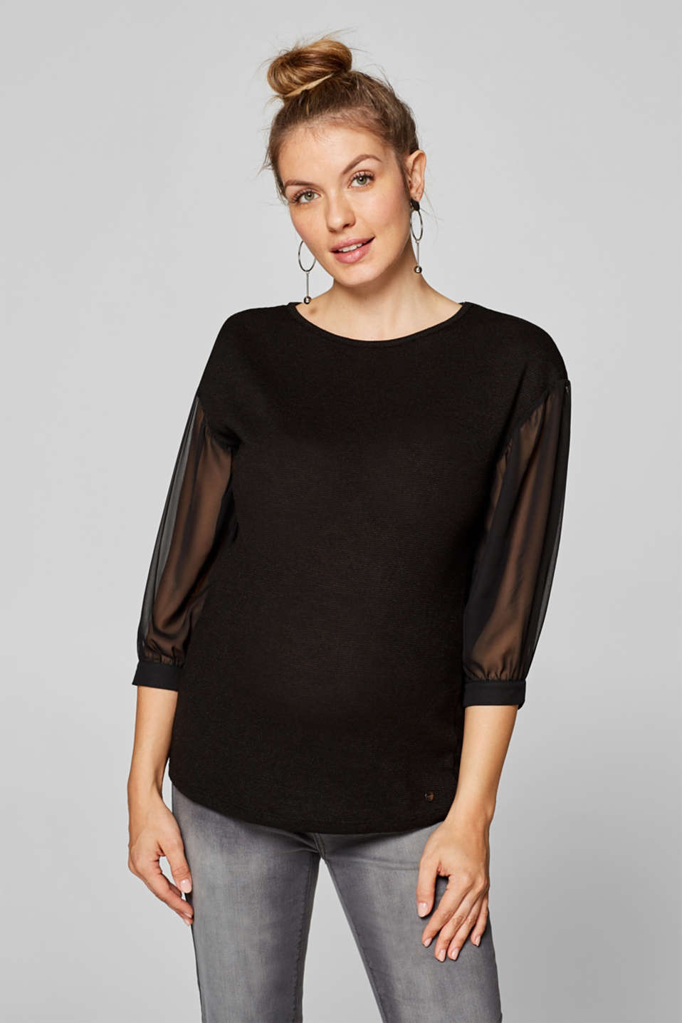 Esprit - Textured top with chiffon sleeves