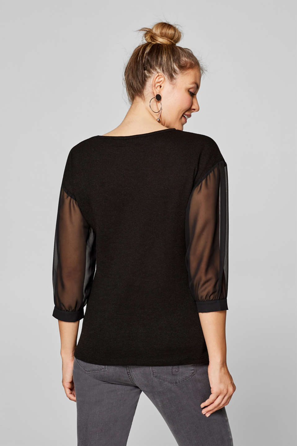 Textured top with chiffon sleeves, LCBLACK, detail image number 2