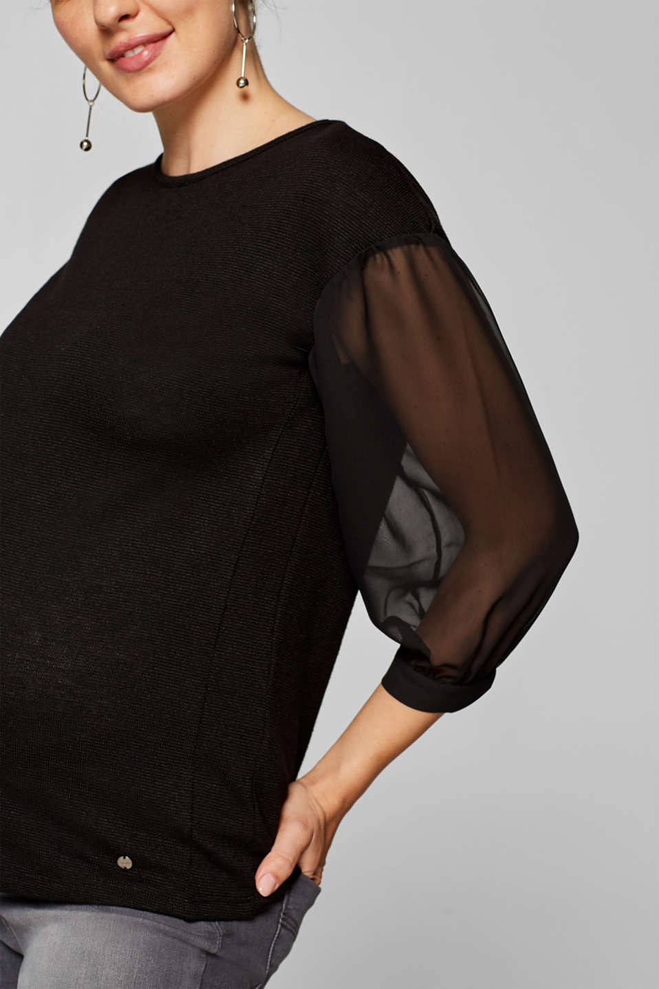 Textured top with chiffon sleeves, LCBLACK, detail image number 1