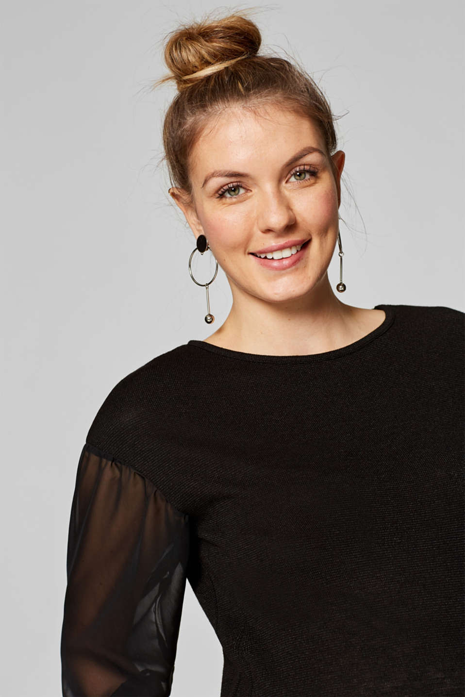 Textured top with chiffon sleeves, LCBLACK, detail image number 4