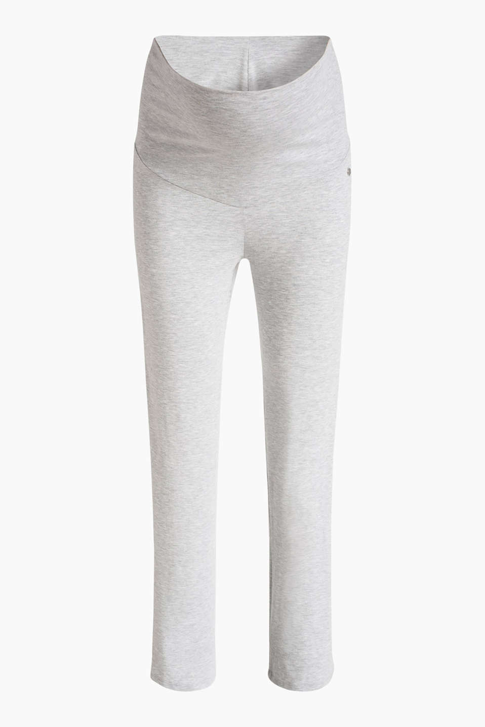 Esprit - Stretch jersey trousers + above-bump waist
