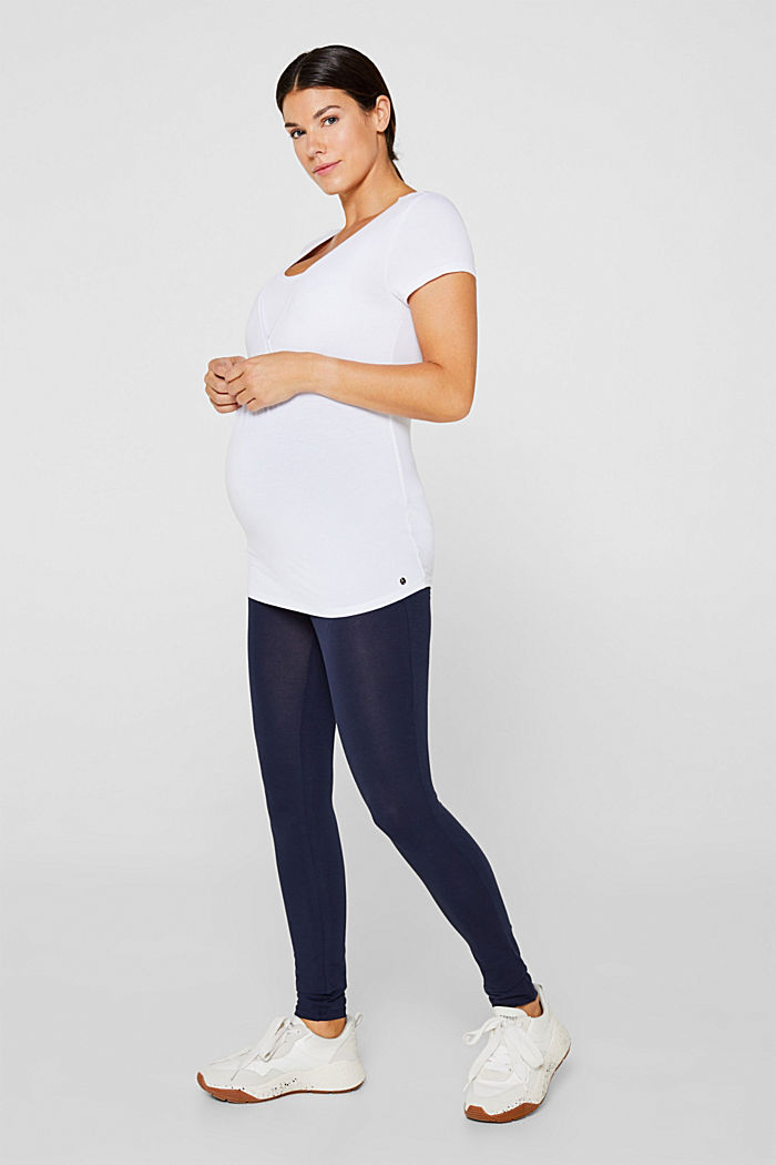 Stretch leggings + above-bump waistband, NIGHT BLUE, overview