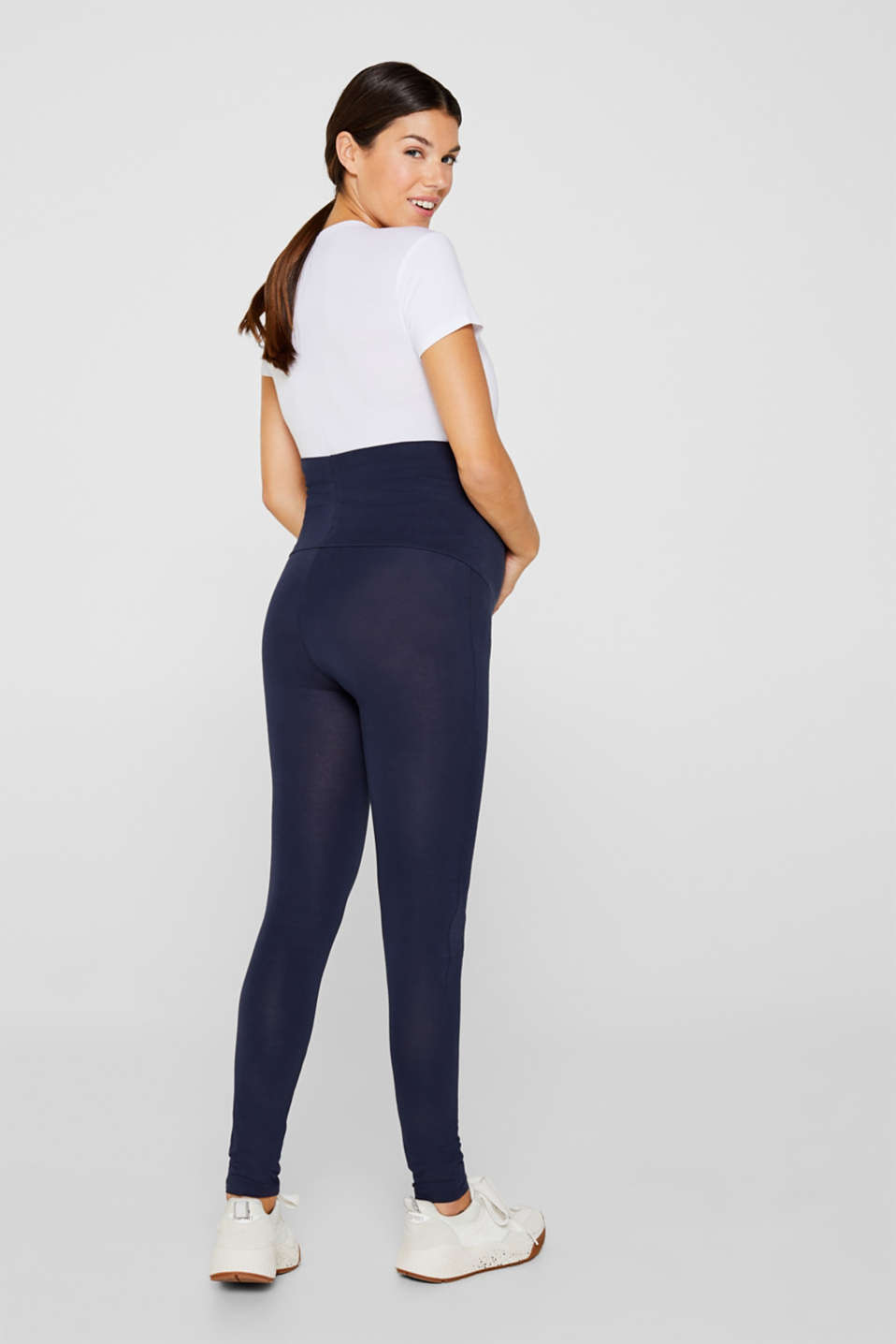 Stretch leggings + above-bump waistband, LCNIGHT BLUE, detail image number 3