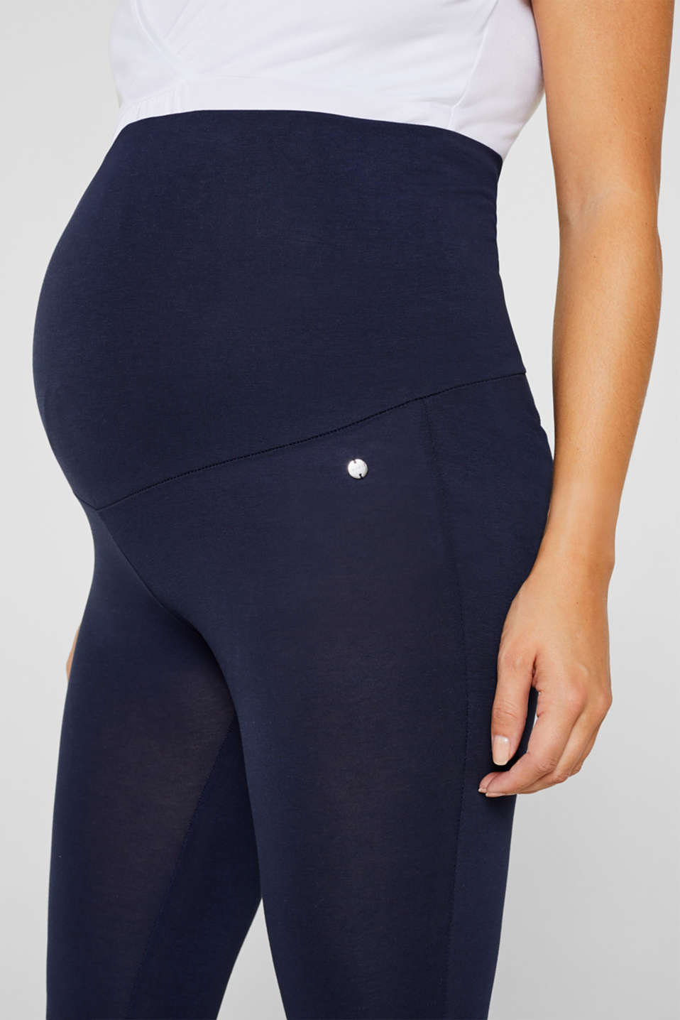 Stretch leggings + above-bump waistband, LCNIGHT BLUE, detail image number 2