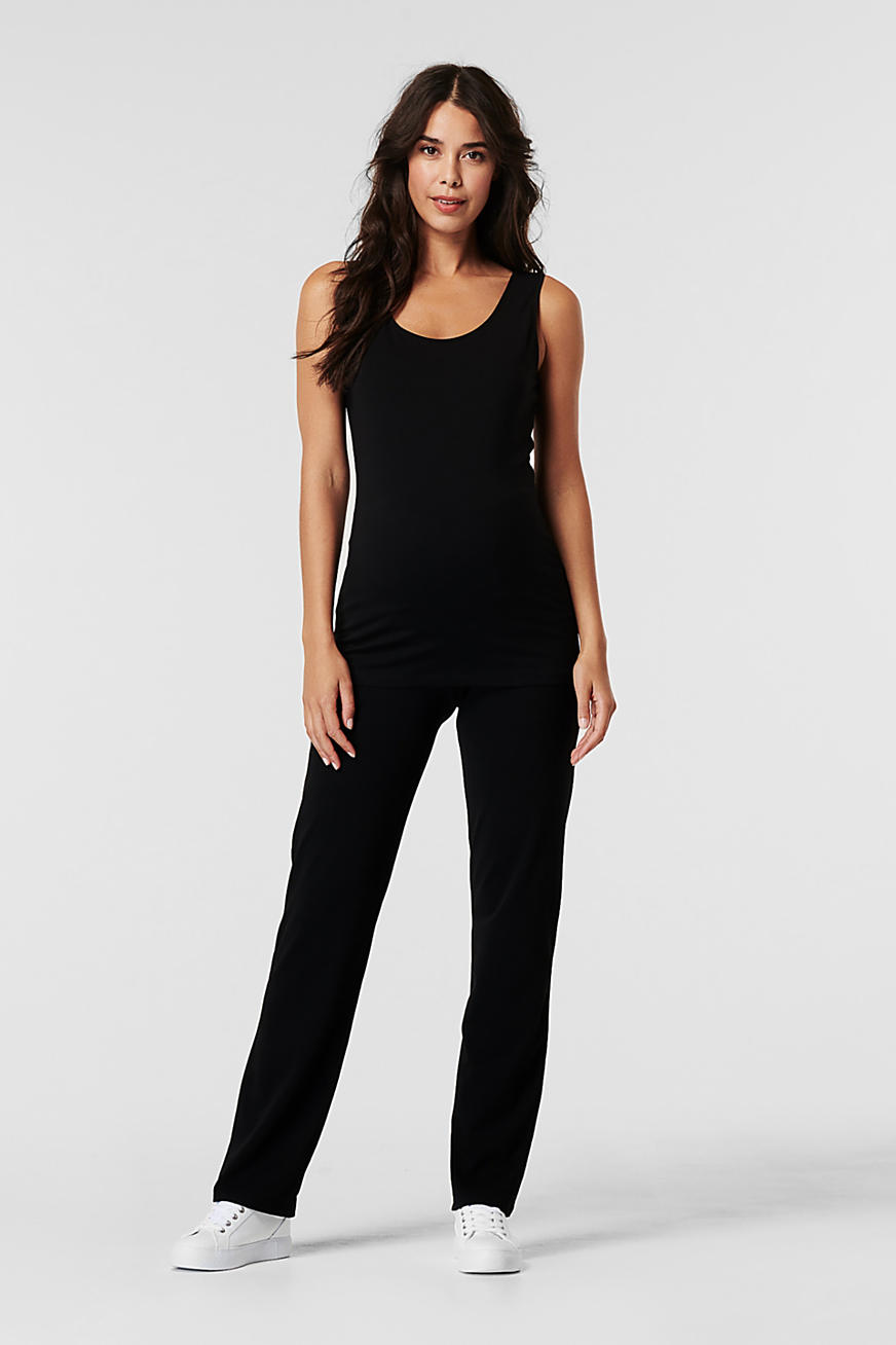 Jersey trousers with an over-bump waistband
