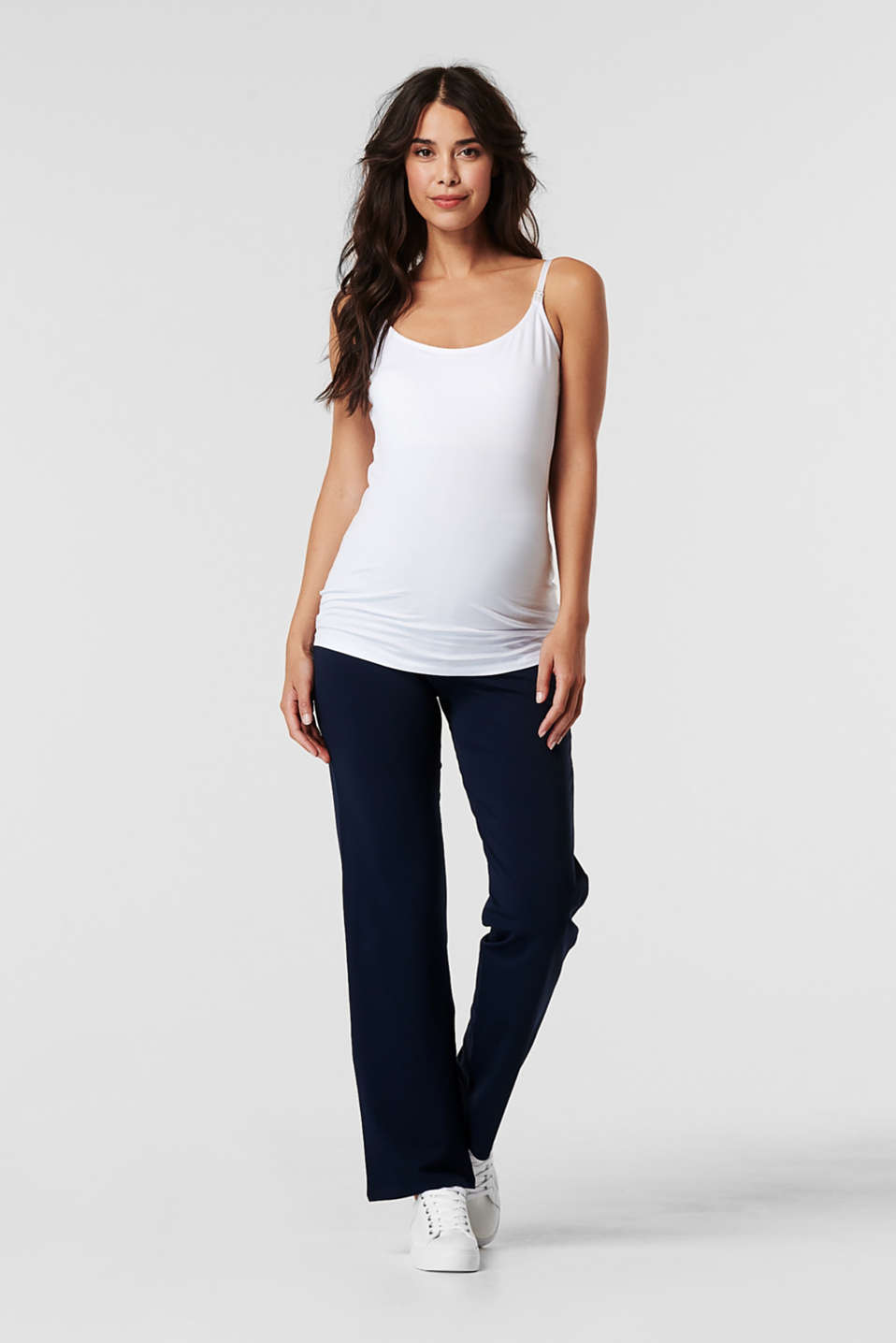 Stretch jersey trousers with an over-bump waistband, LCNIGHT BLUE, detail image number 0