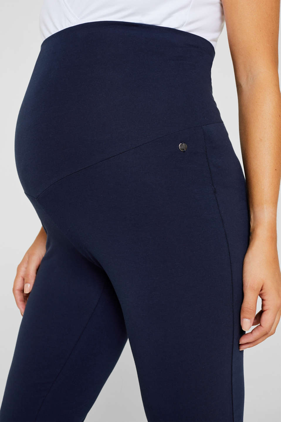 Stretch jersey trousers with an over-bump waistband, LCNIGHT BLUE, detail image number 1