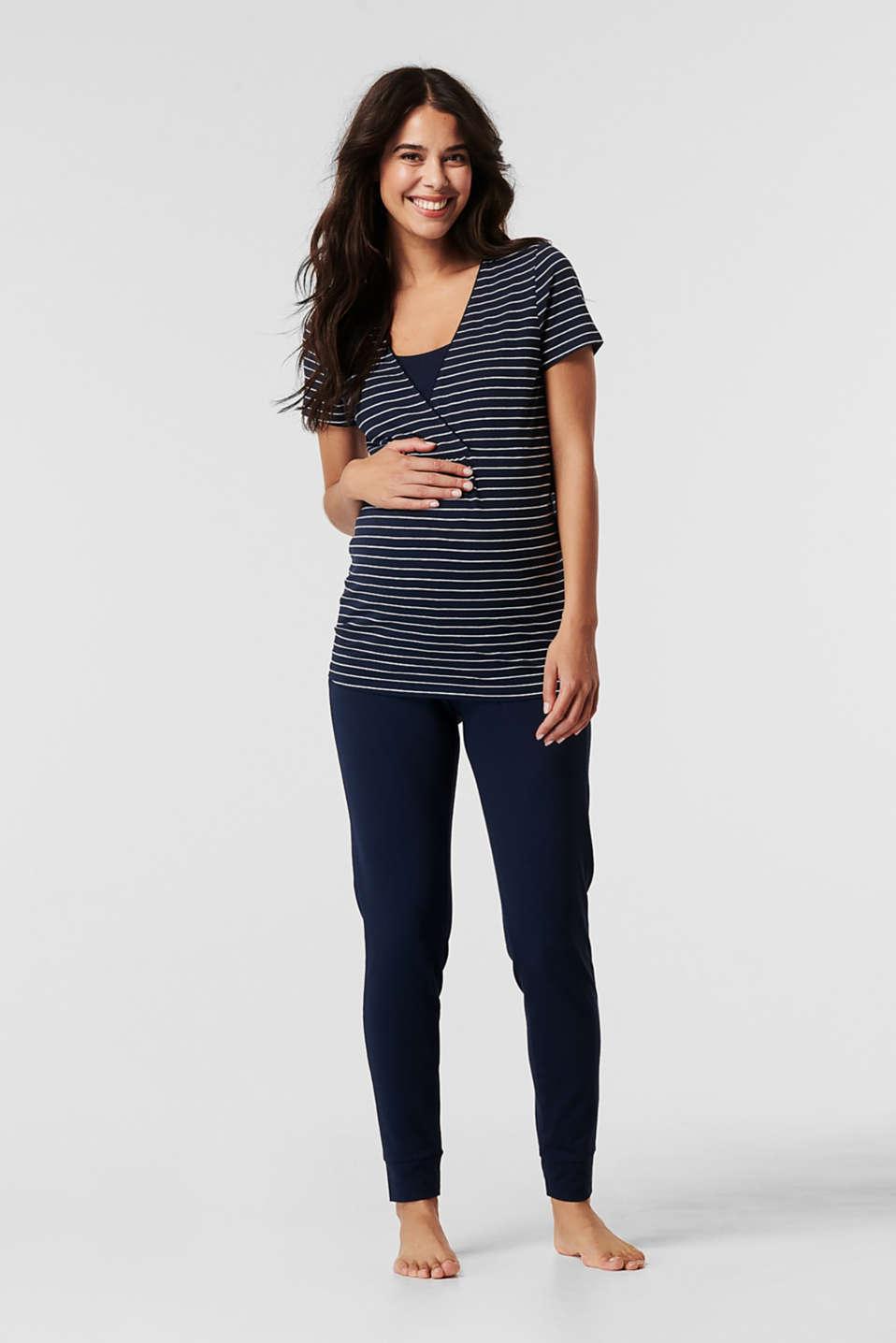 Stretch jersey pyjamas with a nursing function