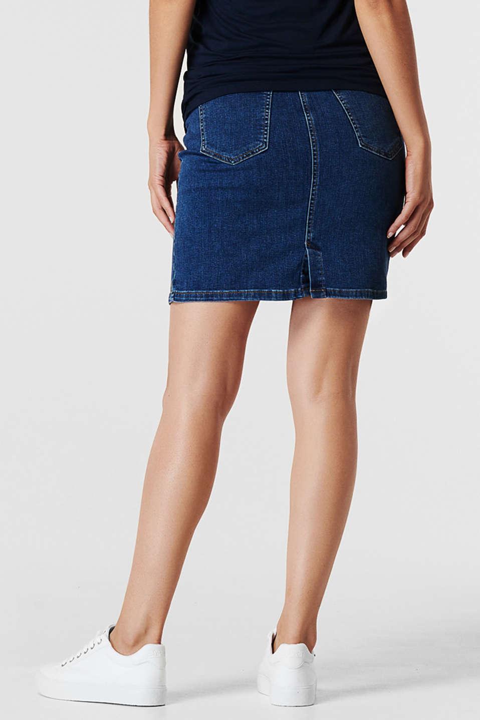 Stretch denim skirt, over-bump waistband, LCMEDIUM WASH, detail image number 2