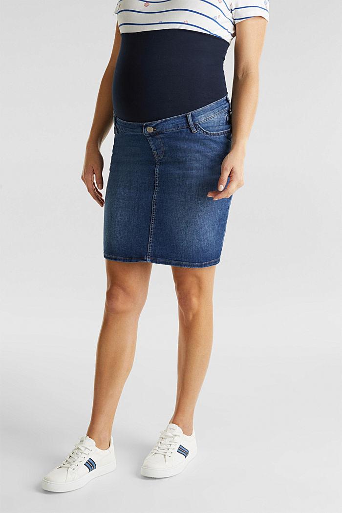 Stretch denim skirt, over-bump waistband, BLUE MEDIUM WASHED, detail image number 4
