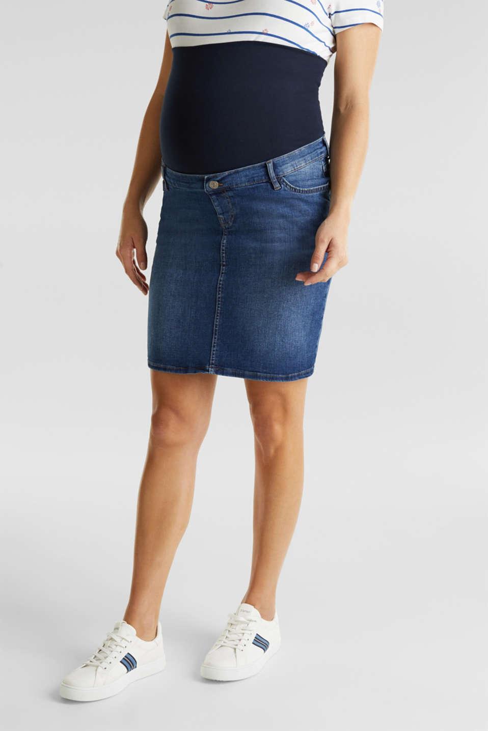 Stretch denim skirt, over-bump waistband, LCMEDIUM WASH, detail image number 4