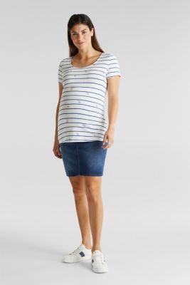 Stretch denim skirt, over-bump waistband, LCMEDIUM WASH, detail