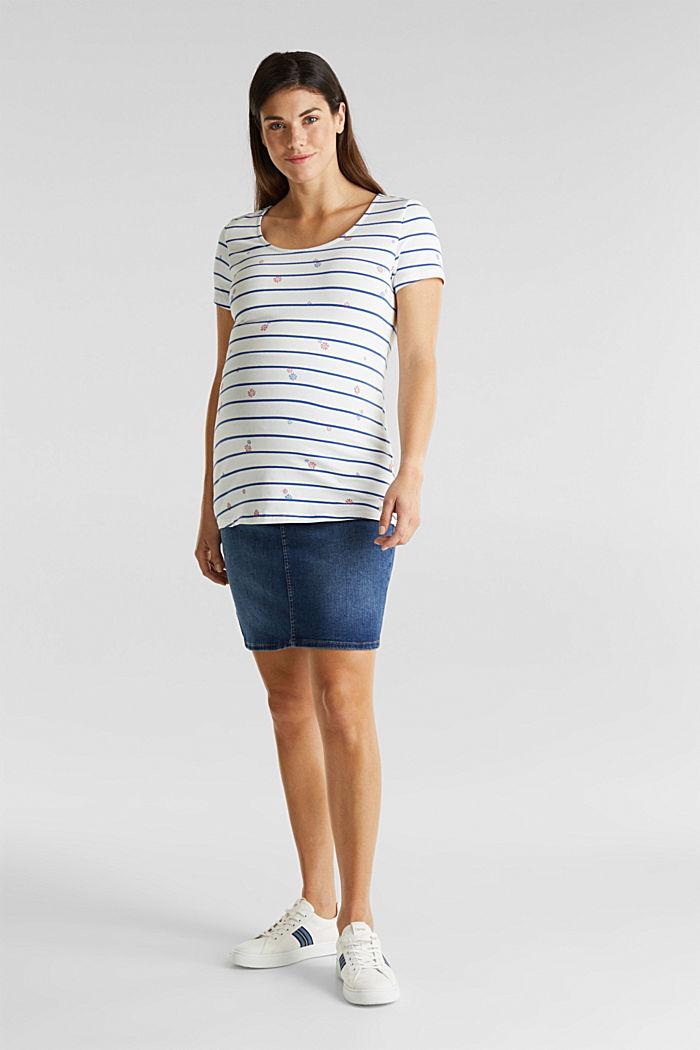 Stretch denim skirt, over-bump waistband, BLUE MEDIUM WASHED, detail image number 1