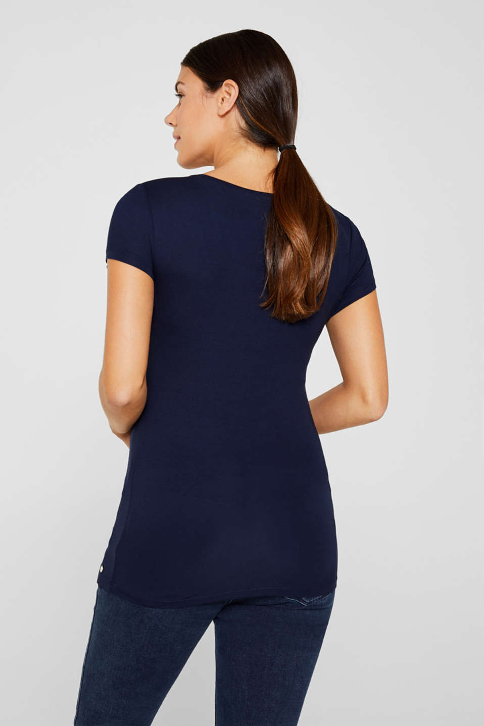 Flowing stretch nursing top, LCNIGHT BLUE, detail image number 3